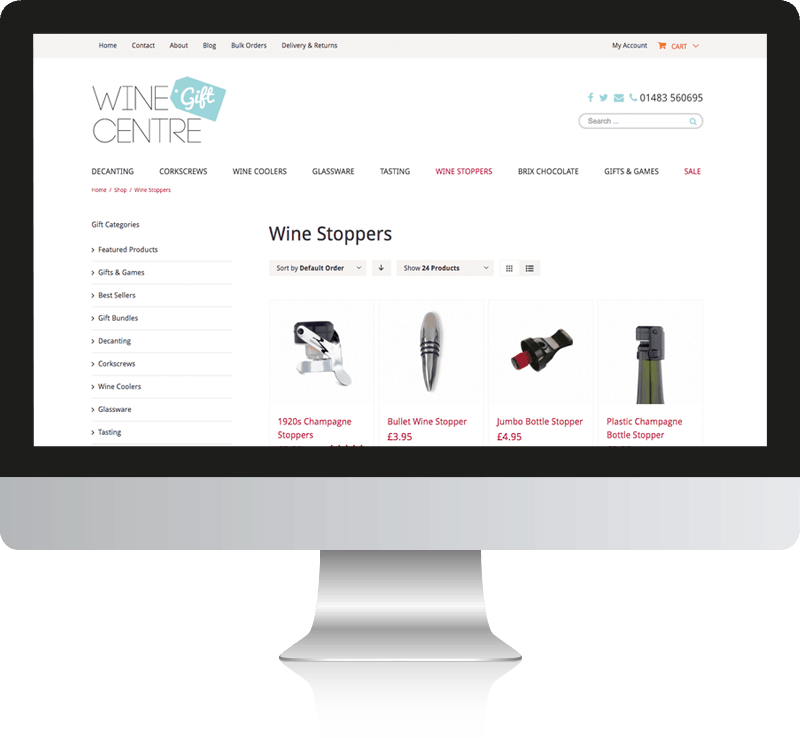Wine Website Design For WIne Gift Centre