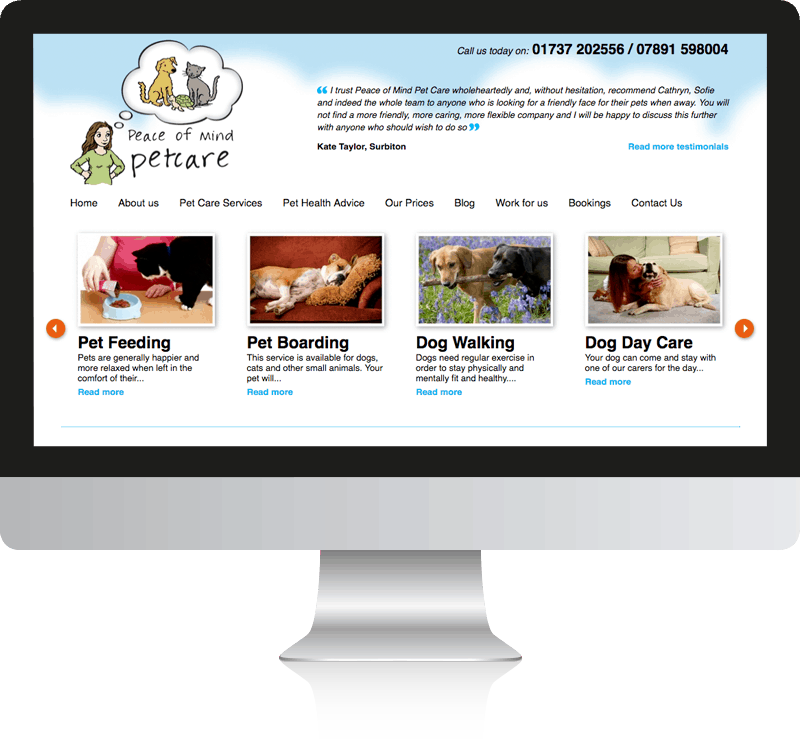 Web Design Reigate - Peace of Mind Pet Care