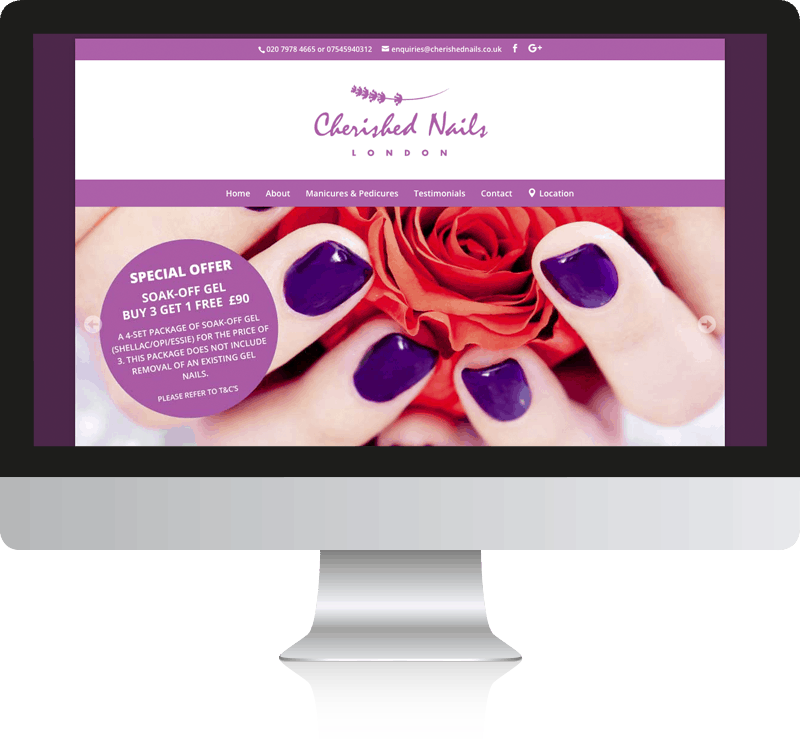 Nail Salon Web Design For Cherished Nails