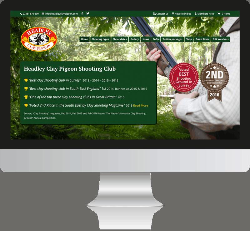 Club Web Design For Headley Clay Pigeon Shooting