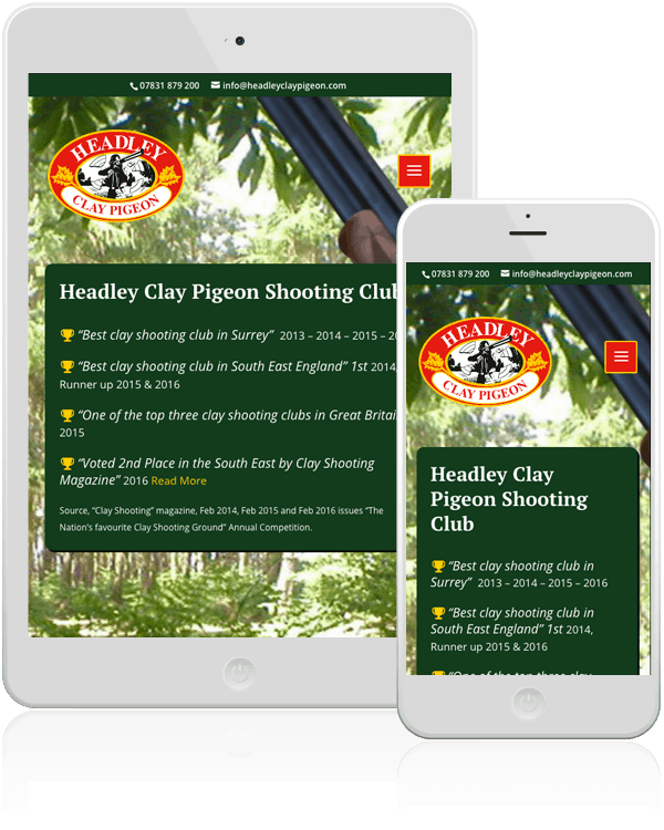 Headley Clay Pigeon Shooting Responsive Web Design