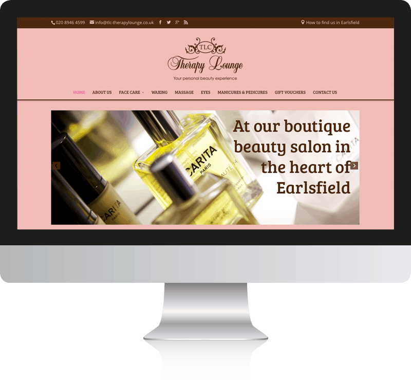 Beauty Salon Web Design For TLC Therapy Lounge