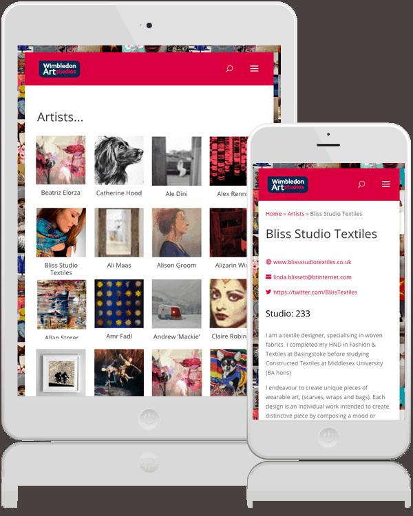 Wimbledon Art Studios Mobile Responsive Web Design