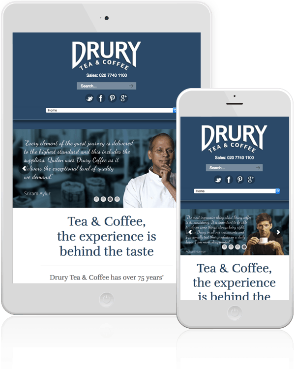 Drury Tea & Coffee Mobile Responsive Website Design