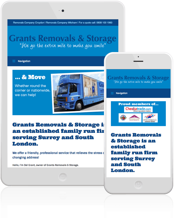 Grants Removals & Storage Mobile Web Design