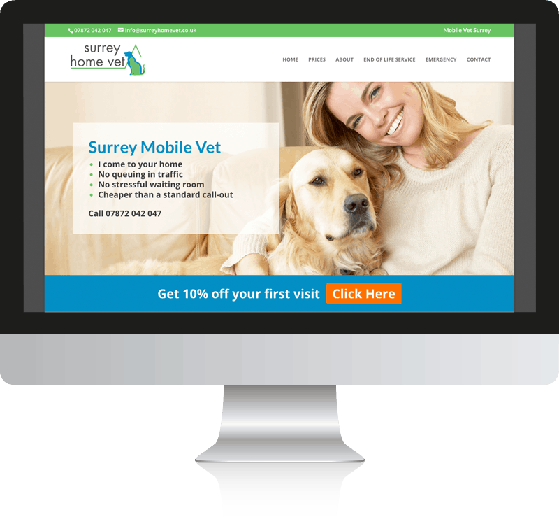 Veterinary Practice Web Design For Surrey Home Vet