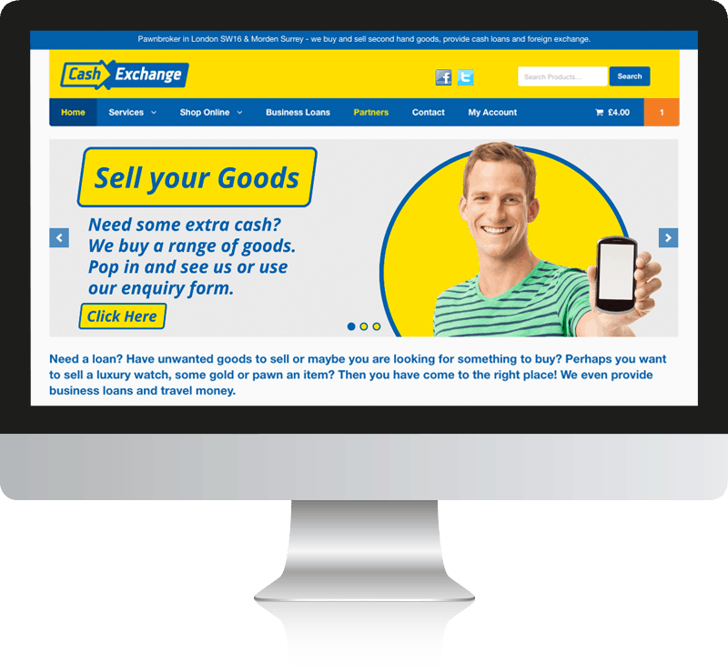 Pawnbroker Web Design for Cash Exchange Ltd