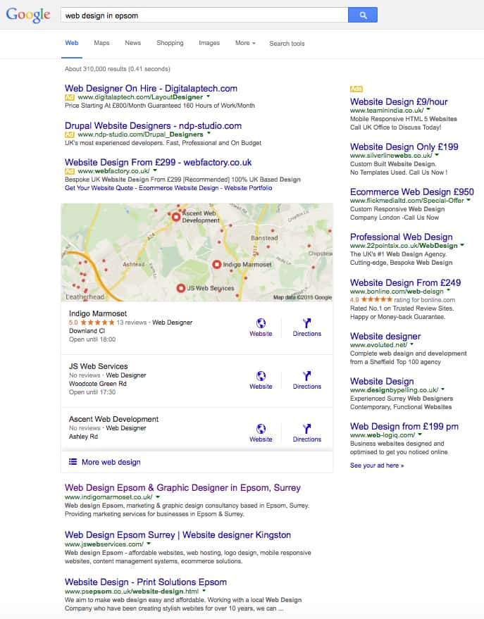 google's new 3 pack of local results