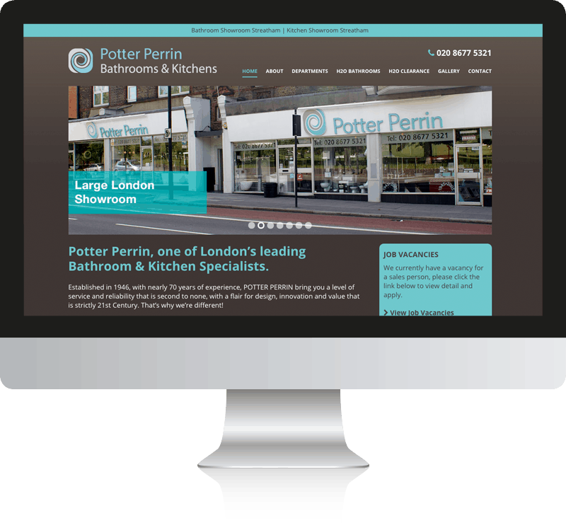 Bathroom showroom web design case study for potter perrin ltd Kitchen and bathroom design courses london