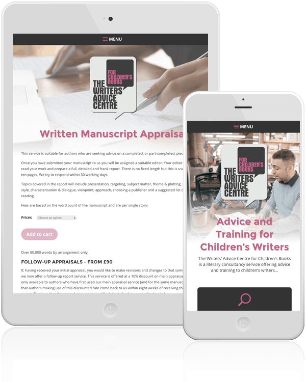 Writers' Advice Centre Mobile Web Design