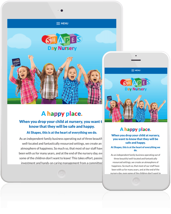 Shapes Day Nursery Web Design