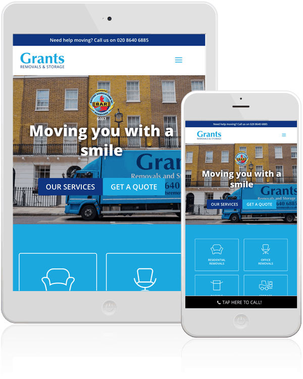 Grants Removals & Storage Mobile Web Design